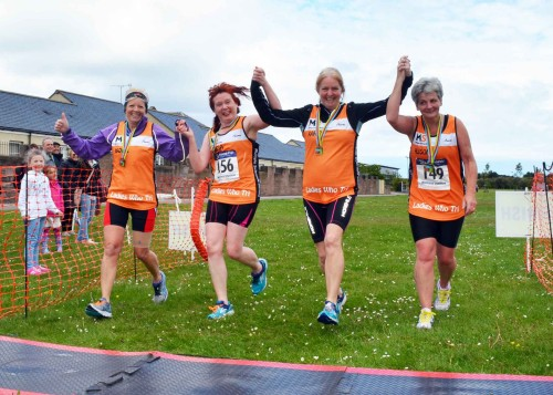 Four members of the new 'Ladies Who Tri' group who work for Angus Council. Karen O'Donnell, Tricia Lowe and Alison Davidson. Image courtesy of John Dempsey, Montrose Images