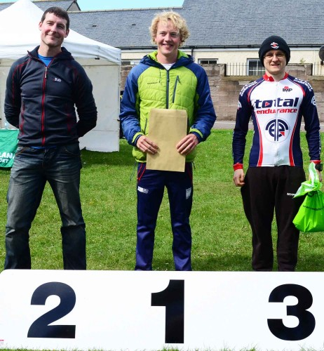 Male Sprint Podium. 1st Andrew Woodroffe, 2nd Chris Watson and 3rd Kevin Watson. Image courtesy of John Dempsey, Montrose Images