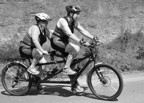 Norma and Mary on their twin powered bike! Credit John Dempsy